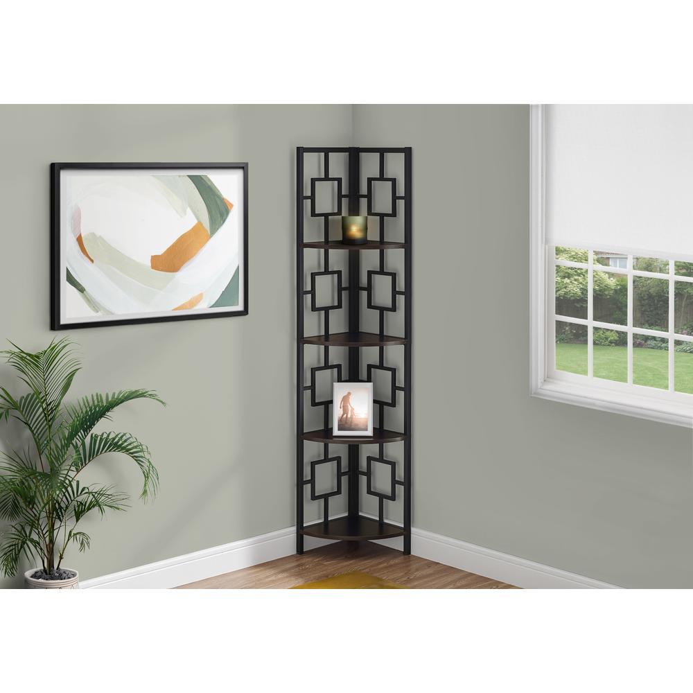 "62"" Bookcase EspressoandBlack Metal Corner Etagere with 4 shelves - 376527. Picture 3"
