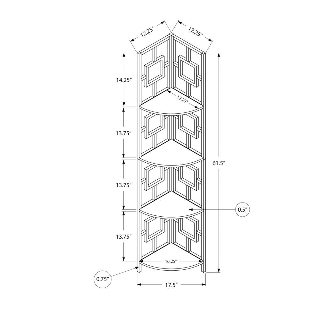 "62"" Bookcase EspressoandBlack Metal Corner Etagere with 4 shelves - 376527. Picture 4"