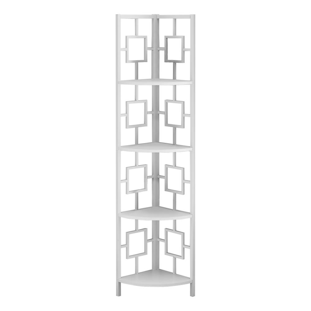 """62"""" Bookcase WhiteandWhite Metal Corner Etagere with 4 shelves - 376528. Picture 1"""