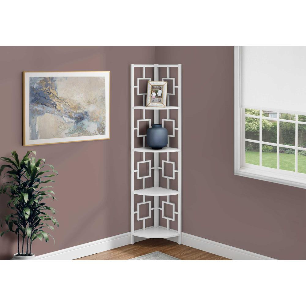 """62"""" Bookcase WhiteandWhite Metal Corner Etagere with 4 shelves - 376528. Picture 3"""