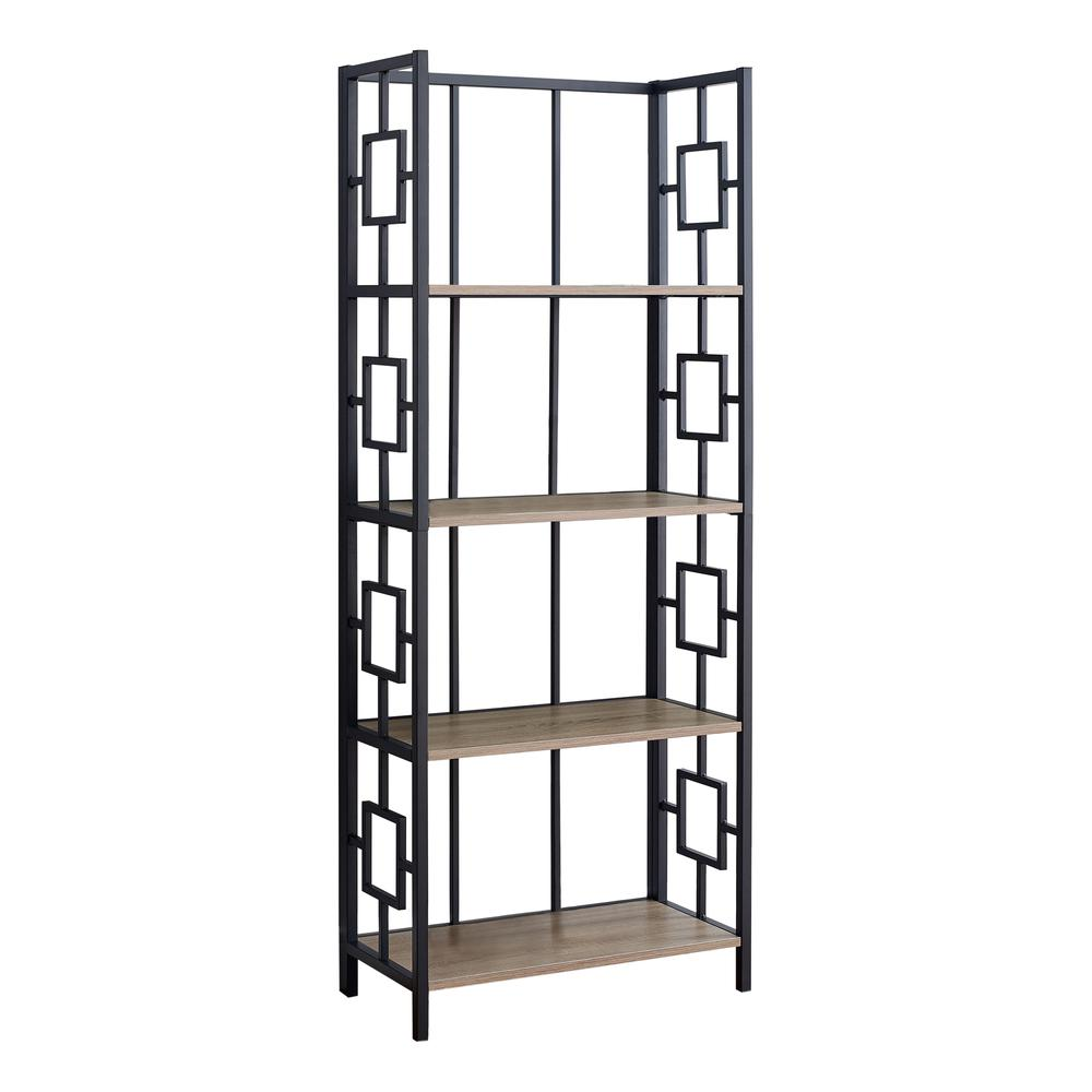 "62"" 4 Tier Bookcase Dark TaupewithBlack Metal Etagere - 376530. Picture 1"