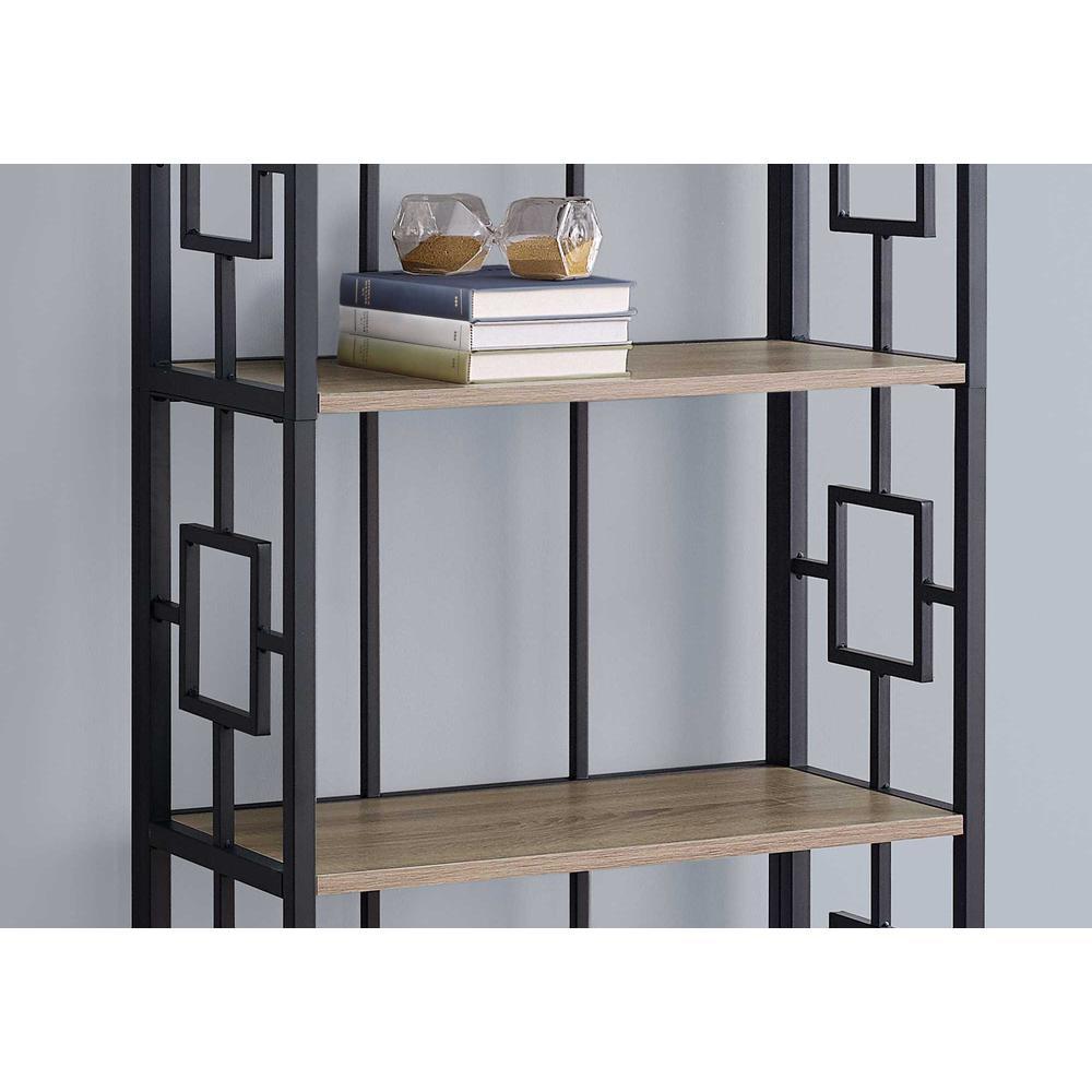 "62"" 4 Tier Bookcase Dark TaupewithBlack Metal Etagere - 376530. Picture 2"