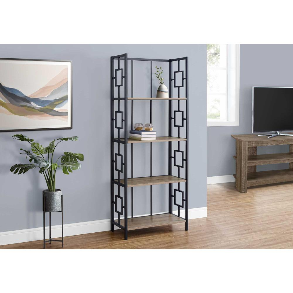 "62"" 4 Tier Bookcase Dark TaupewithBlack Metal Etagere - 376530. Picture 3"