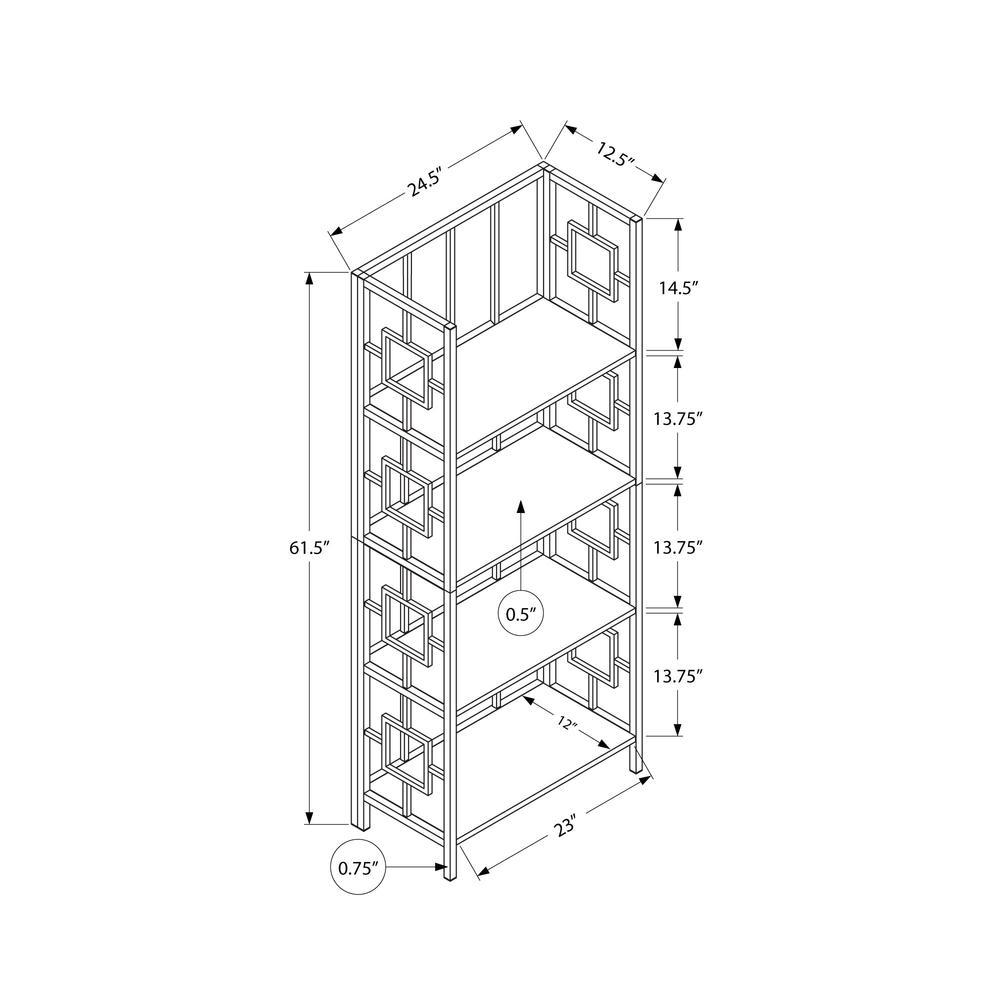 "62"" 4 Tier Bookcase Dark TaupewithBlack Metal Etagere - 376530. Picture 4"