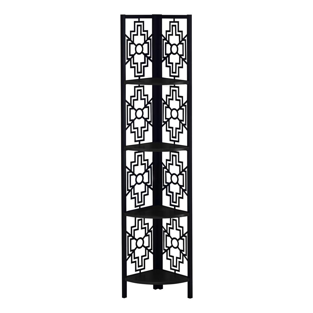 """62"""" Bookcase with 4 Solid Black Shelves and Black Metal Corner Etagere - 376533. Picture 1"""