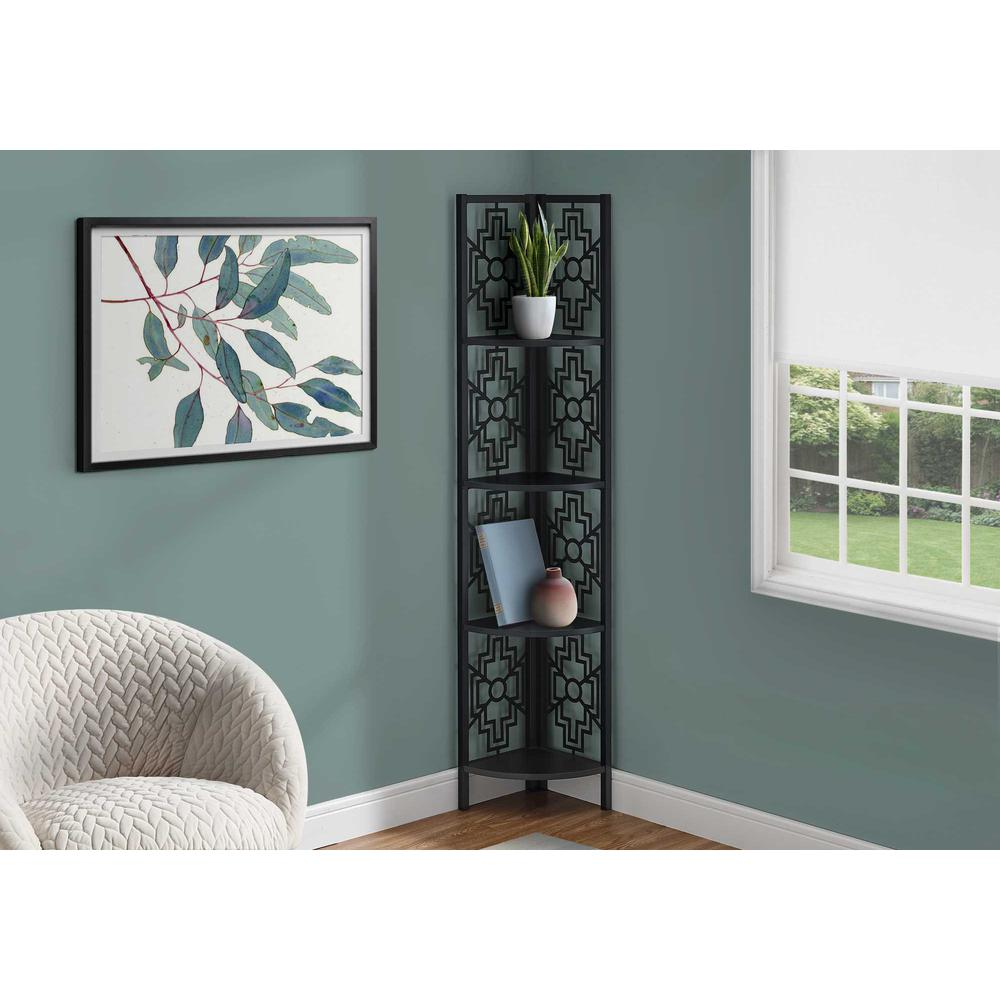 """62"""" Bookcase with 4 Solid Black Shelves and Black Metal Corner Etagere - 376533. Picture 3"""