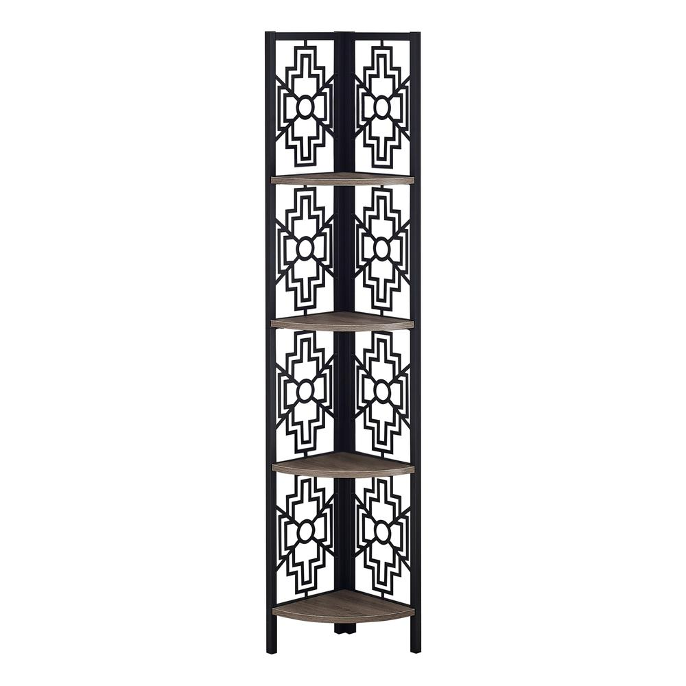 """62"""" Bookcase with 4 Solid Taupe Shelves and Black Metal Corner Etagere - 376534. Picture 1"""