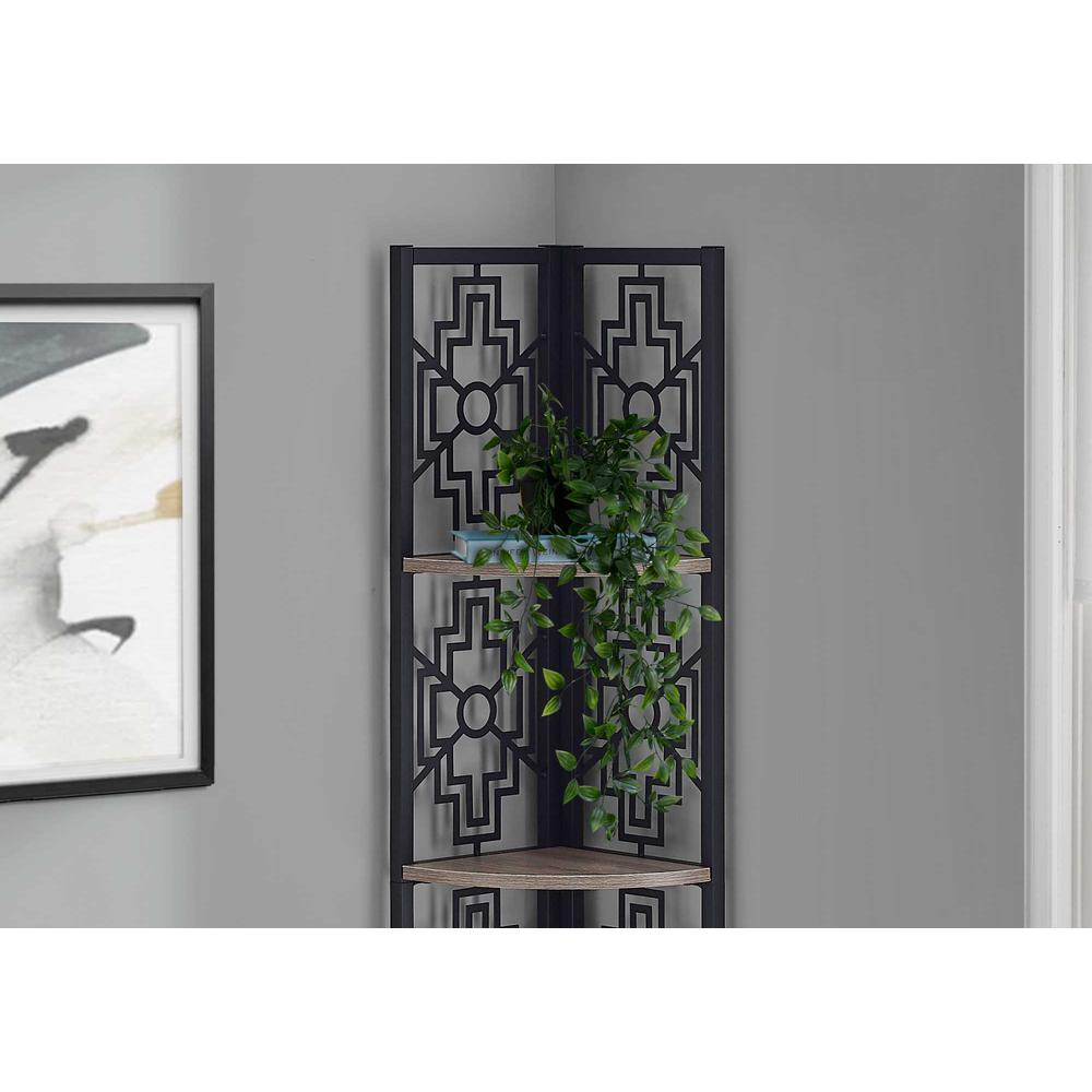 """62"""" Bookcase with 4 Solid Taupe Shelves and Black Metal Corner Etagere - 376534. Picture 2"""
