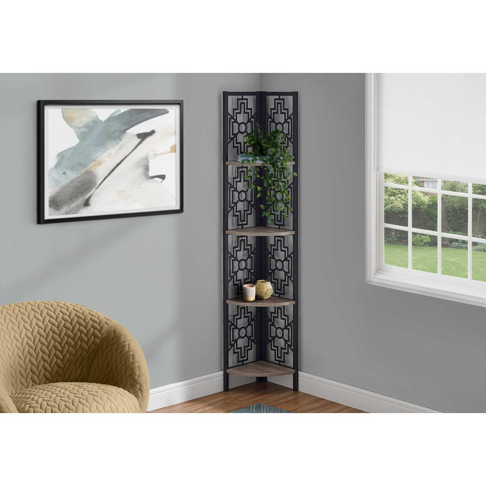 """62"""" Bookcase with 4 Solid Taupe Shelves and Black Metal Corner Etagere - 376534. Picture 3"""