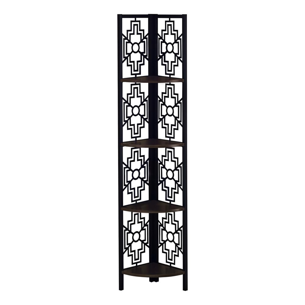 """62"""" Bookcase with 4 Solid Espresso Shelves and Black Metal Corner Etagere - 376535. Picture 1"""