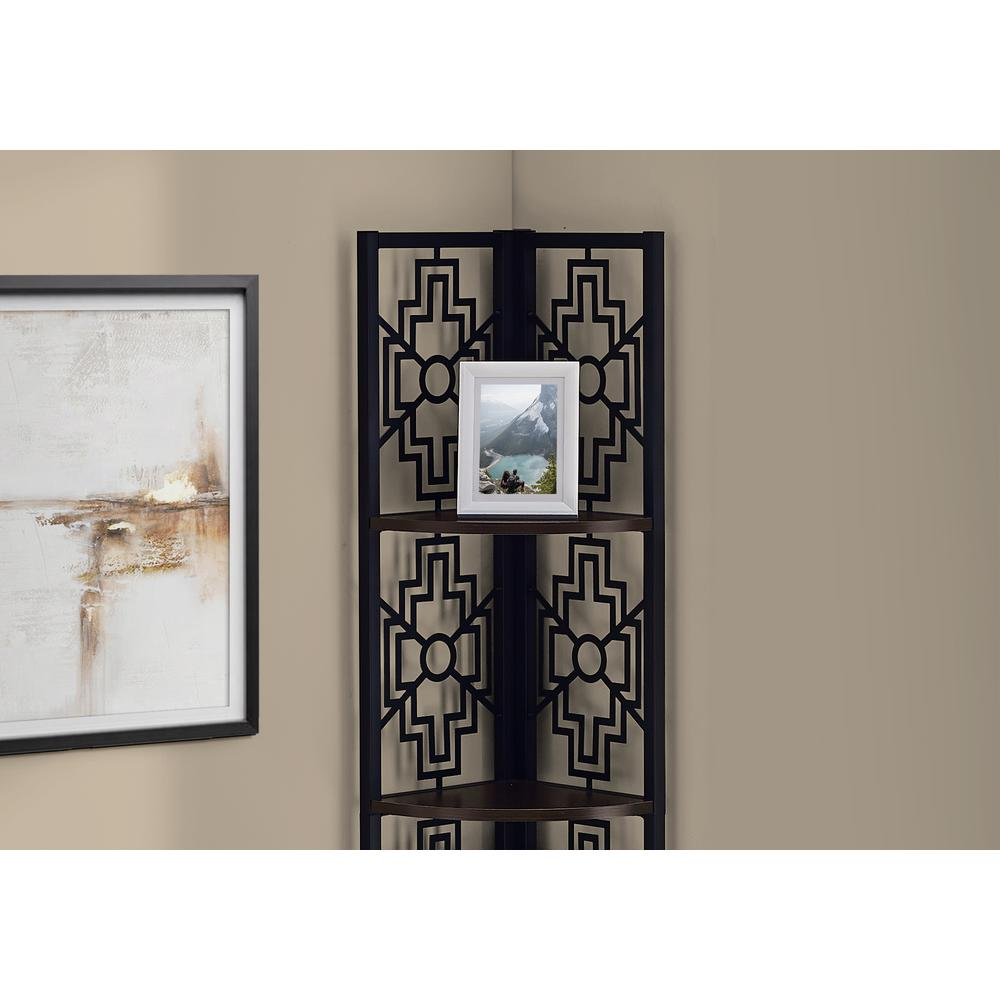 """62"""" Bookcase with 4 Solid Espresso Shelves and Black Metal Corner Etagere - 376535. Picture 2"""