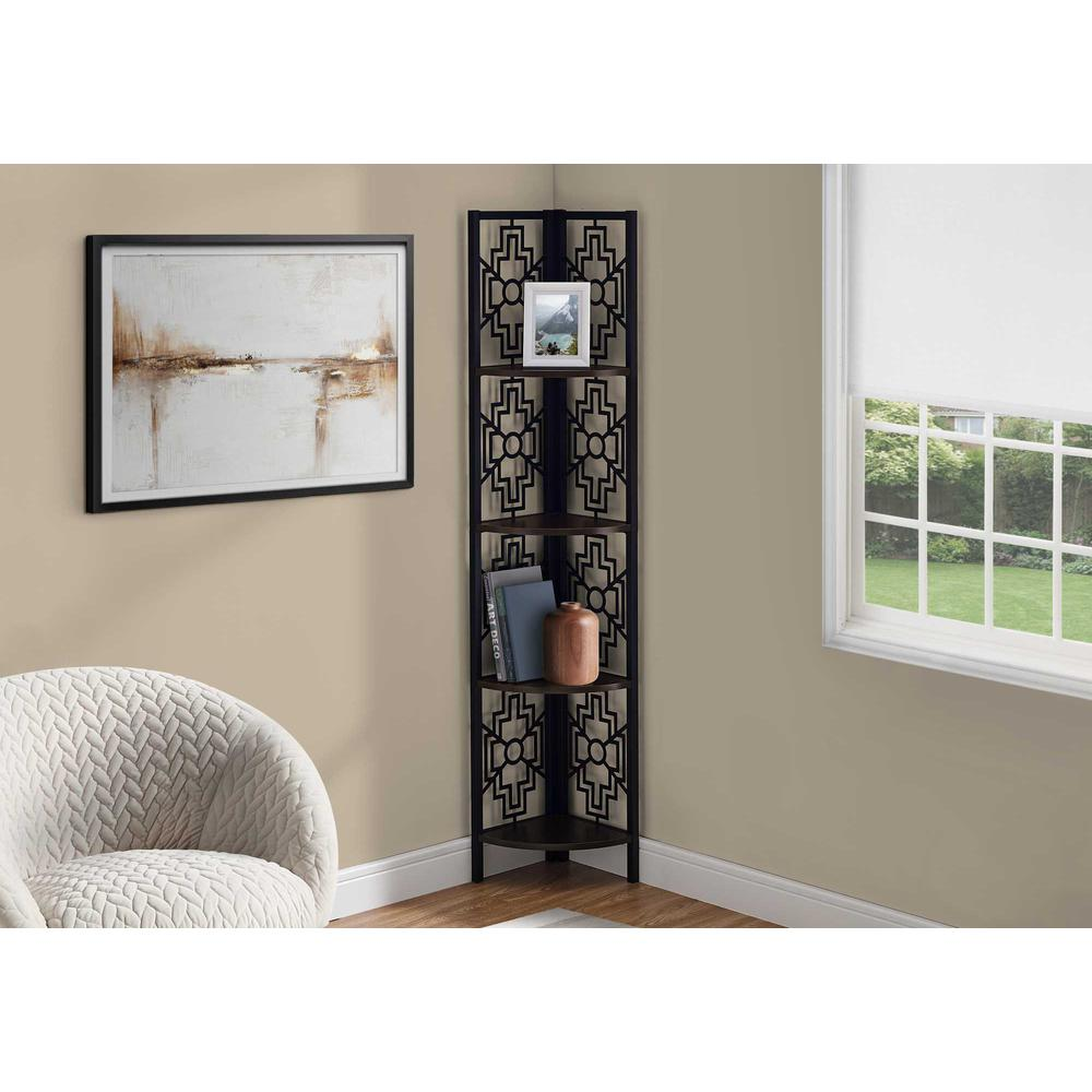 """62"""" Bookcase with 4 Solid Espresso Shelves and Black Metal Corner Etagere - 376535. Picture 3"""
