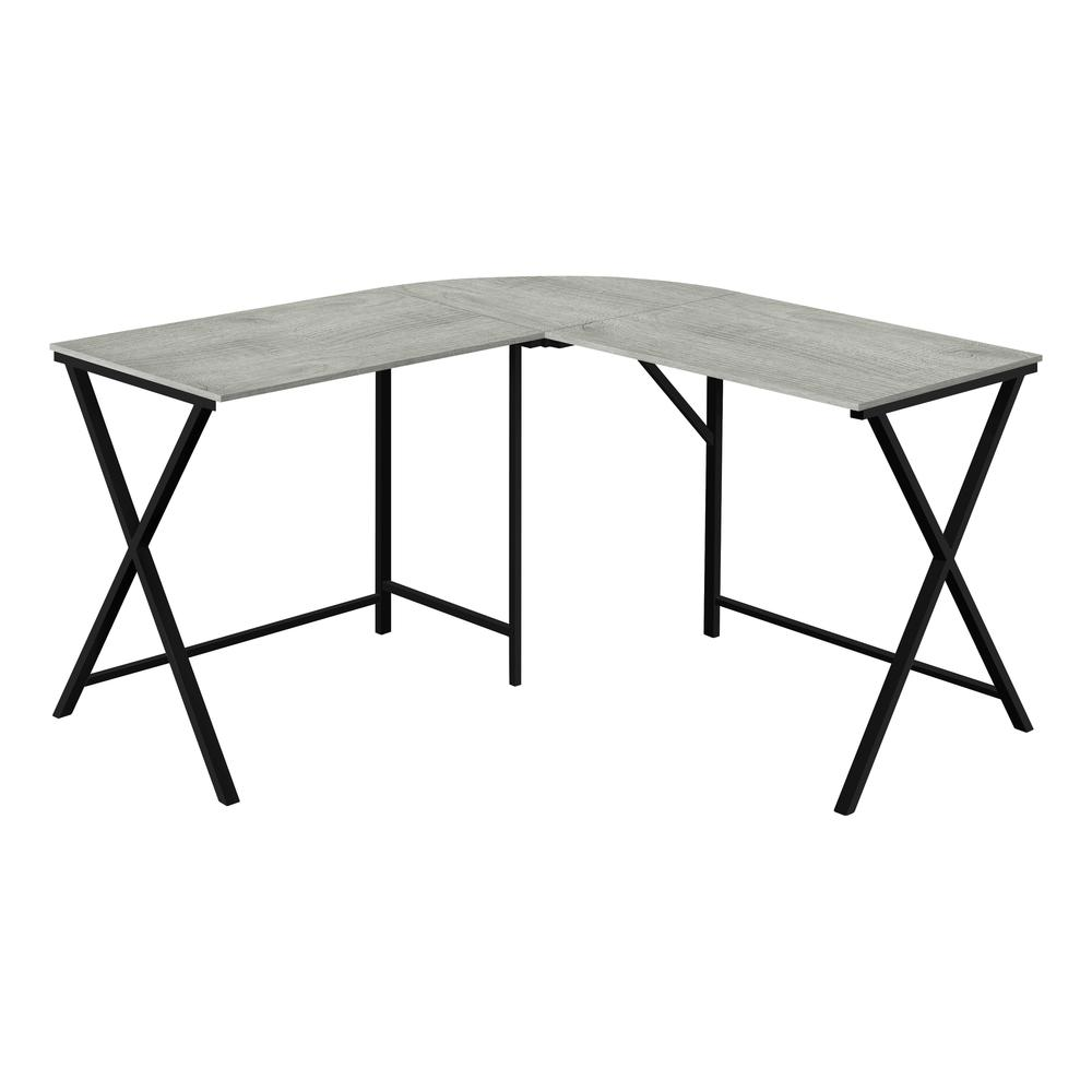 "55"" Grey Top and Black Metal Corner Computer Desk - 376541. Picture 1"