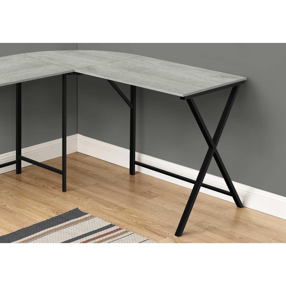 "55"" Grey Top and Black Metal Corner Computer Desk - 376541. Picture 2"