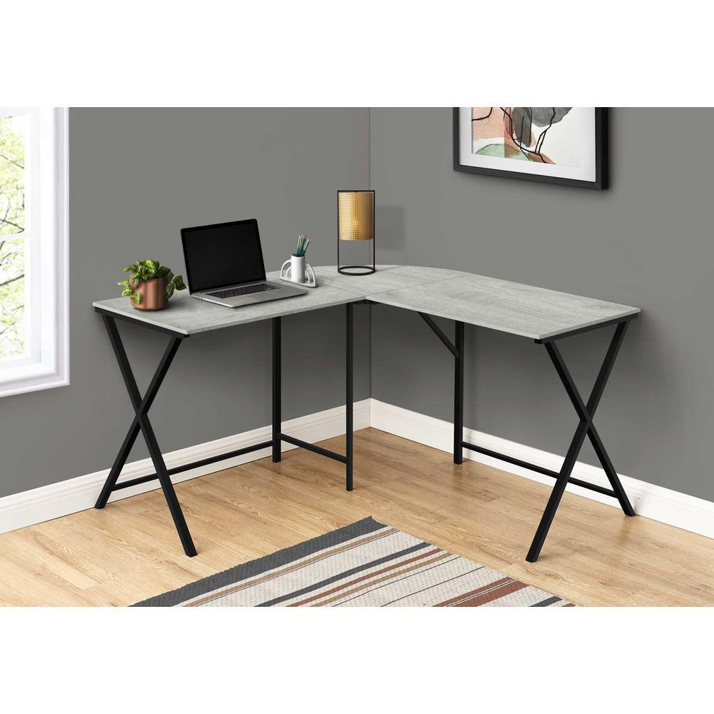 "55"" Grey Top and Black Metal Corner Computer Desk - 376541. Picture 3"