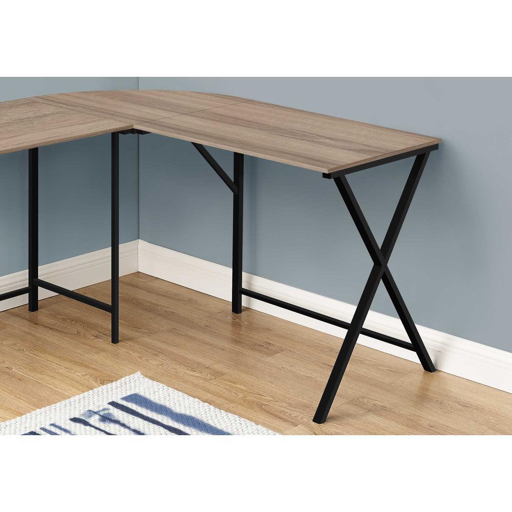 "55"" Dark Taupe Top and Black Metal Corner Computer Desk - 376542. Picture 2"