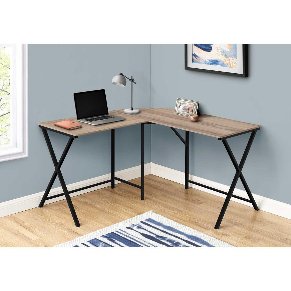 "55"" Dark Taupe Top and Black Metal Corner Computer Desk - 376542. Picture 3"