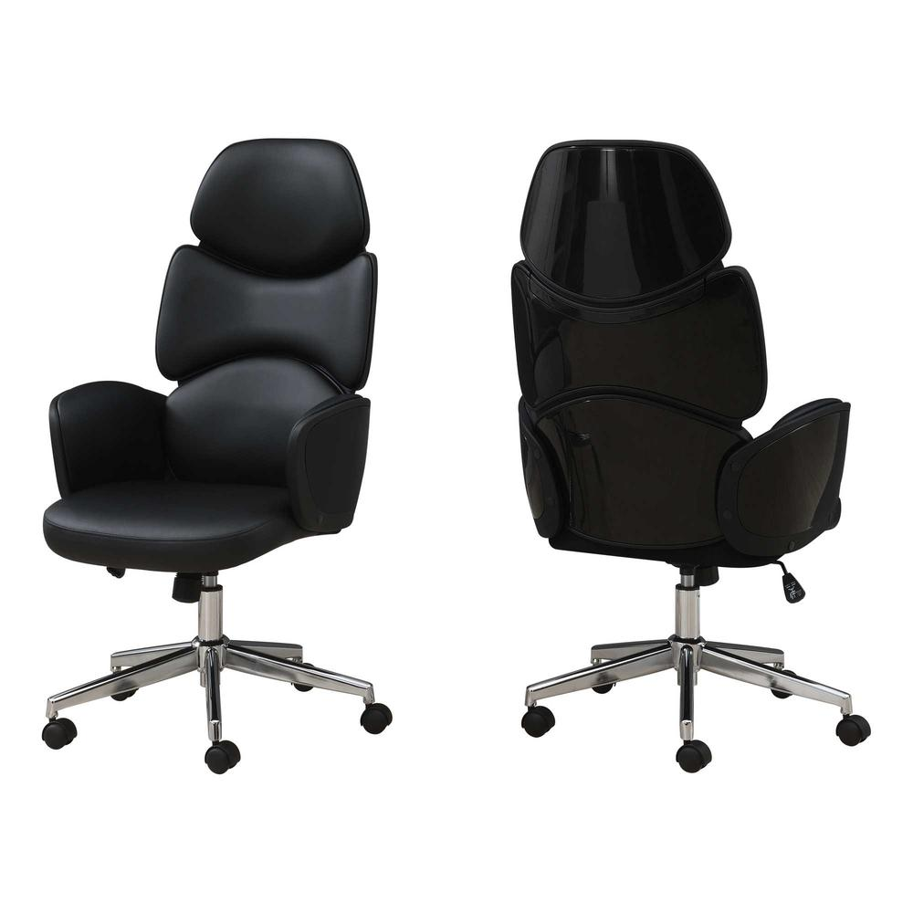 Black Leather Look High Back Executive Office Chair - 376546. Picture 1