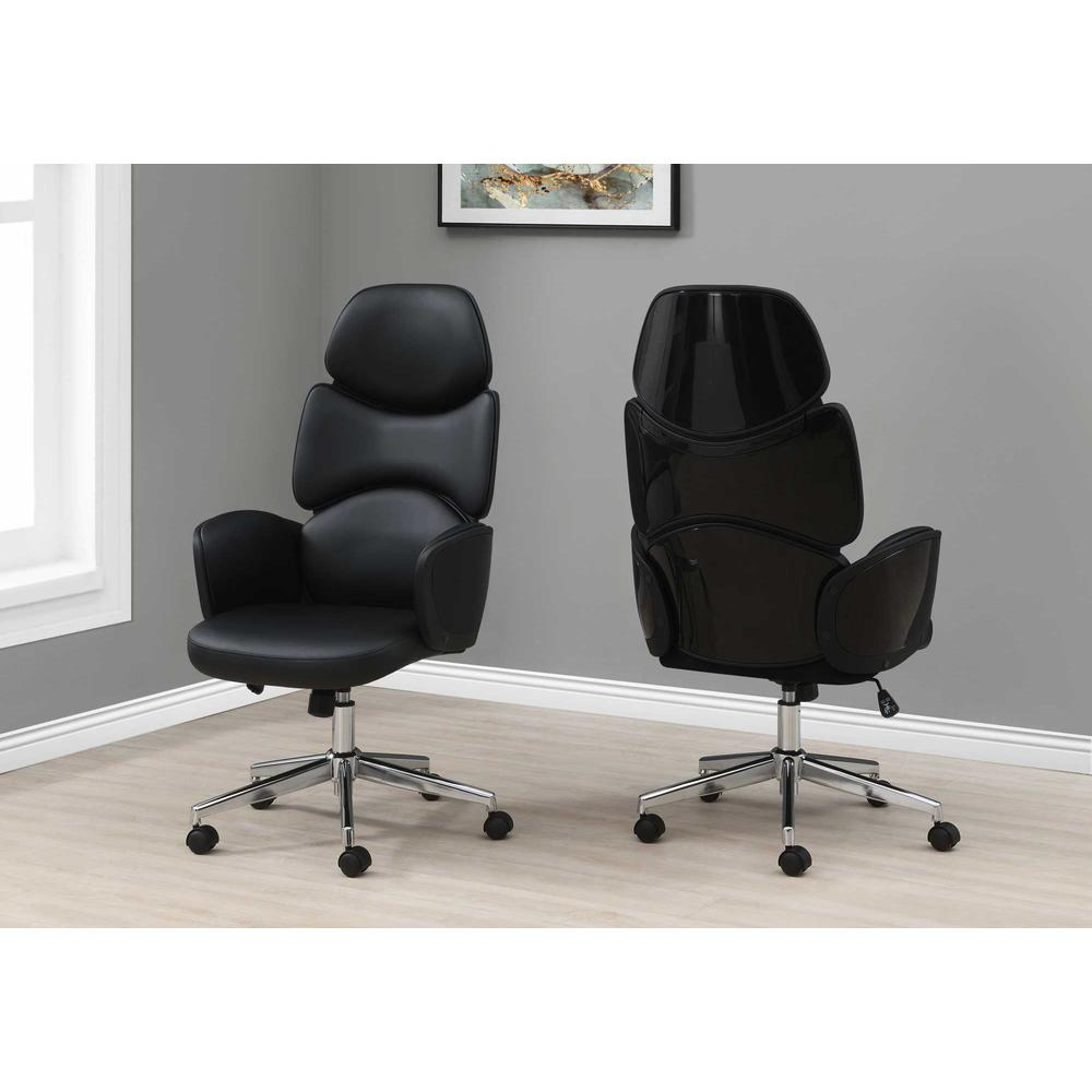 Black Leather Look High Back Executive Office Chair - 376546. Picture 3