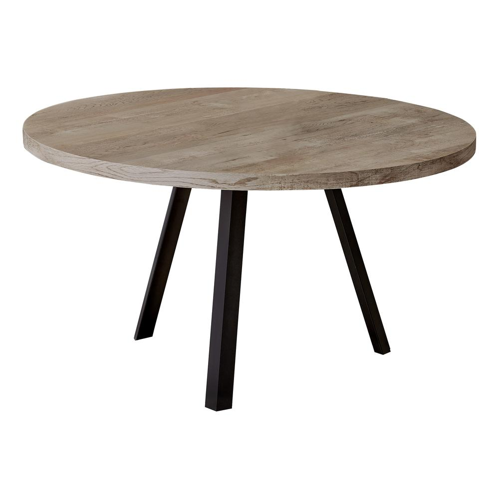 Round Taupe Reclaimed Wood with Black Metal Coffee Table - 376549. Picture 1