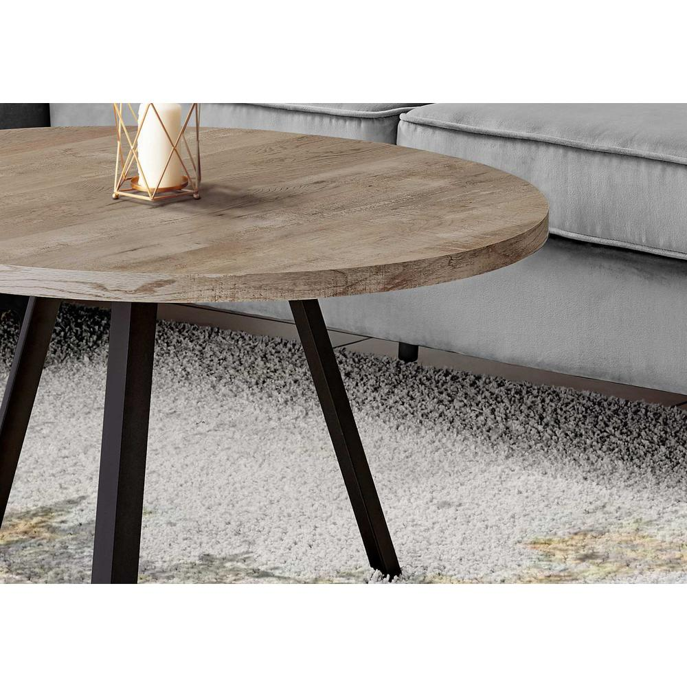 Round Taupe Reclaimed Wood with Black Metal Coffee Table - 376549. Picture 2