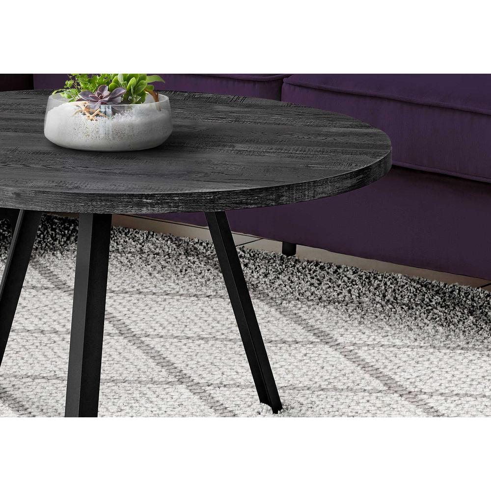 Round Black Reclaimed Wood with Black Metal Coffee Table - 376550. Picture 2