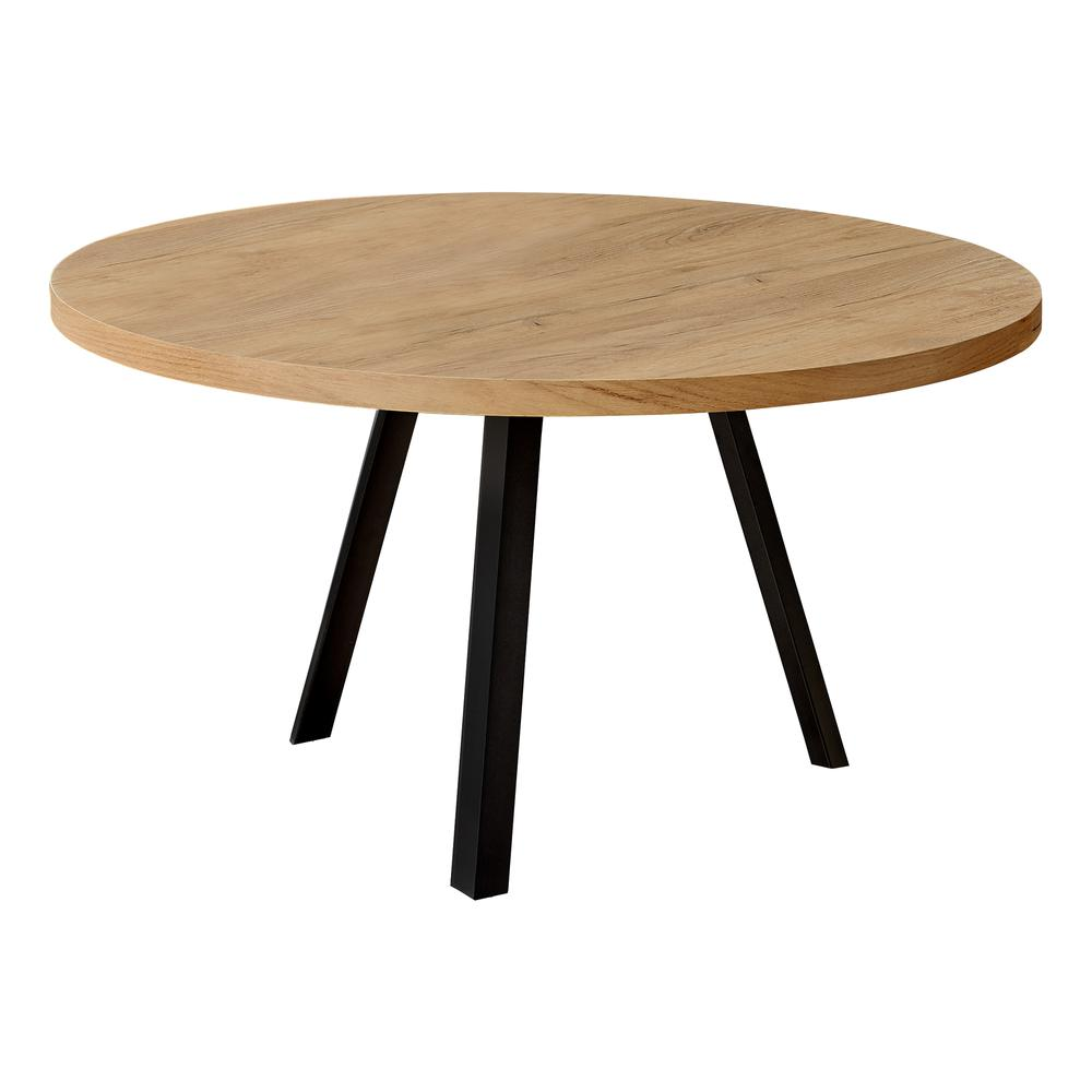 Round Golden Pine with Black Metal Coffee Table - 376551. Picture 1