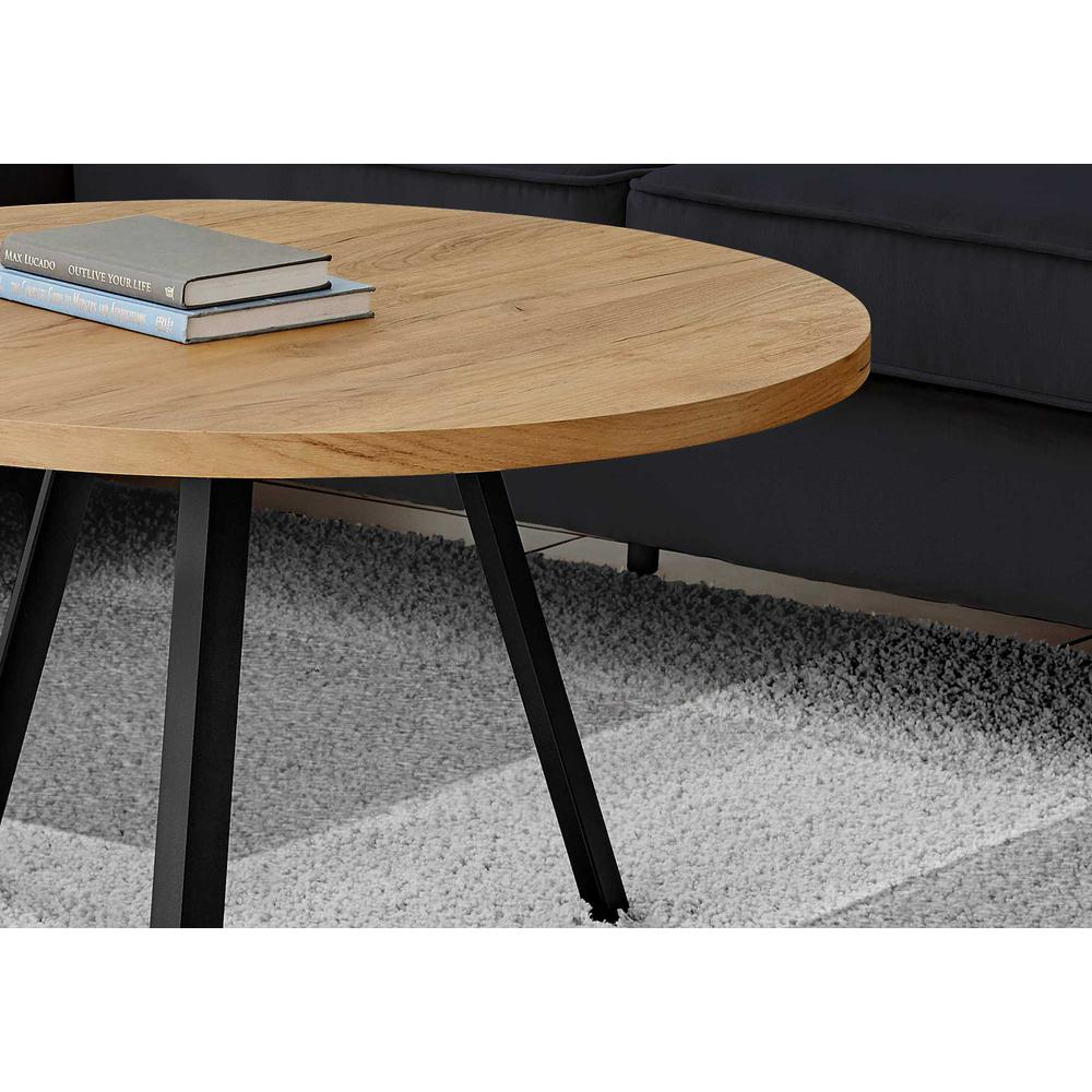 Round Golden Pine with Black Metal Coffee Table - 376551. Picture 2