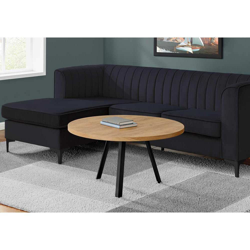 Round Golden Pine with Black Metal Coffee Table - 376551. Picture 3