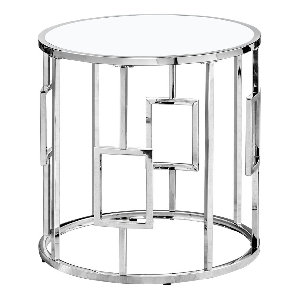 Chrome Metal with Tempered Glass Accent Table - 376557. Picture 1