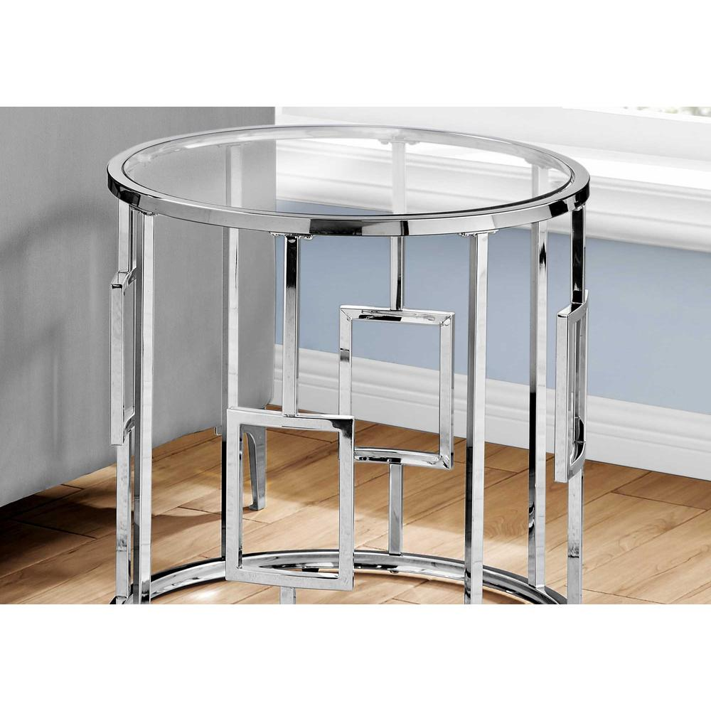 Chrome Metal with Tempered Glass Accent Table - 376557. Picture 2