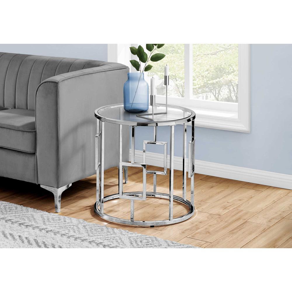 Chrome Metal with Tempered Glass Accent Table - 376557. Picture 3