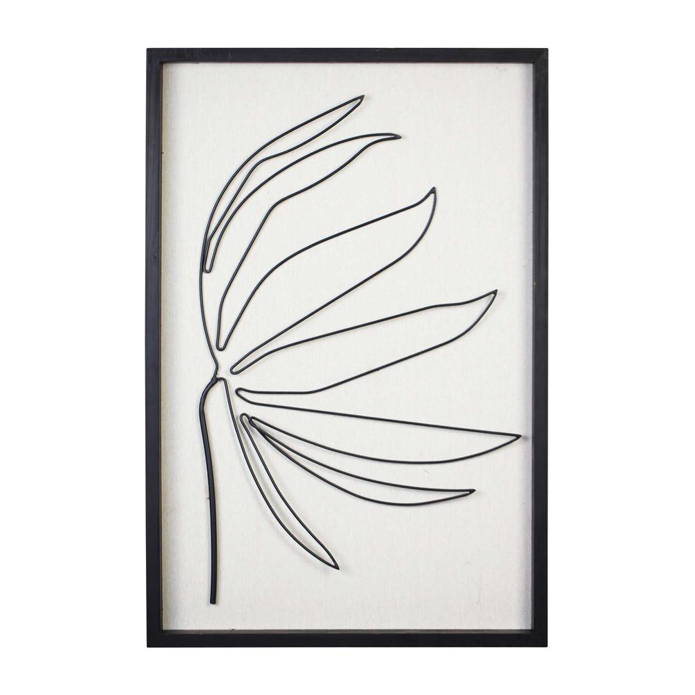 Leafy Stem Wall Art with Matthe Black Finish - 376566. Picture 1