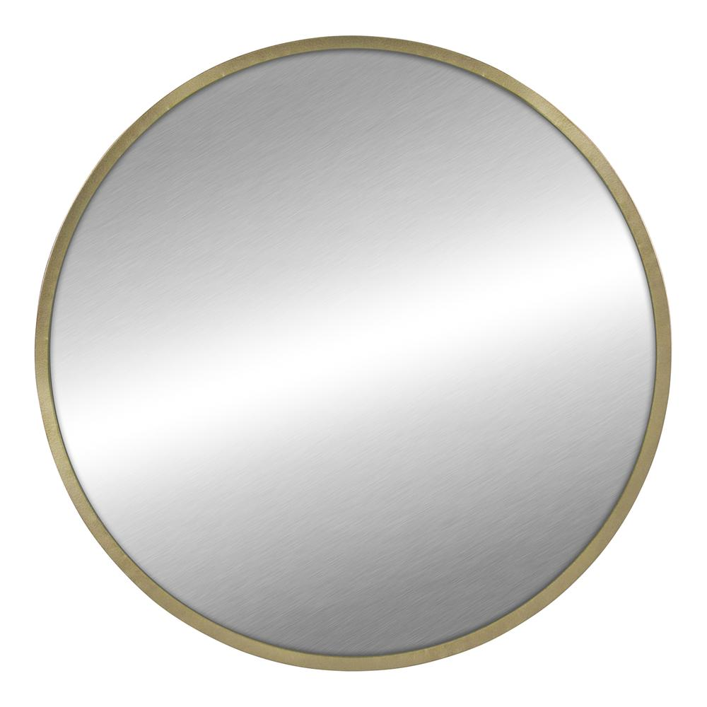 Round Wall Mirror with Matte Gold Finish - 376569. Picture 1