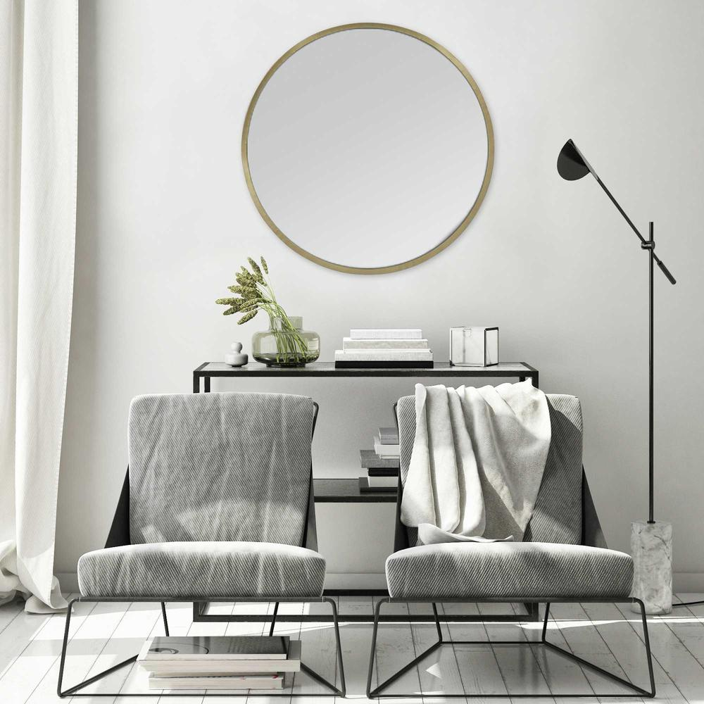 Round Wall Mirror with Matte Gold Finish - 376569. Picture 2
