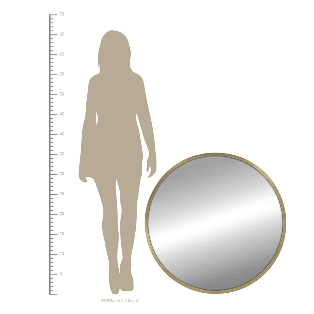 Round Wall Mirror with Matte Gold Finish - 376569. Picture 4