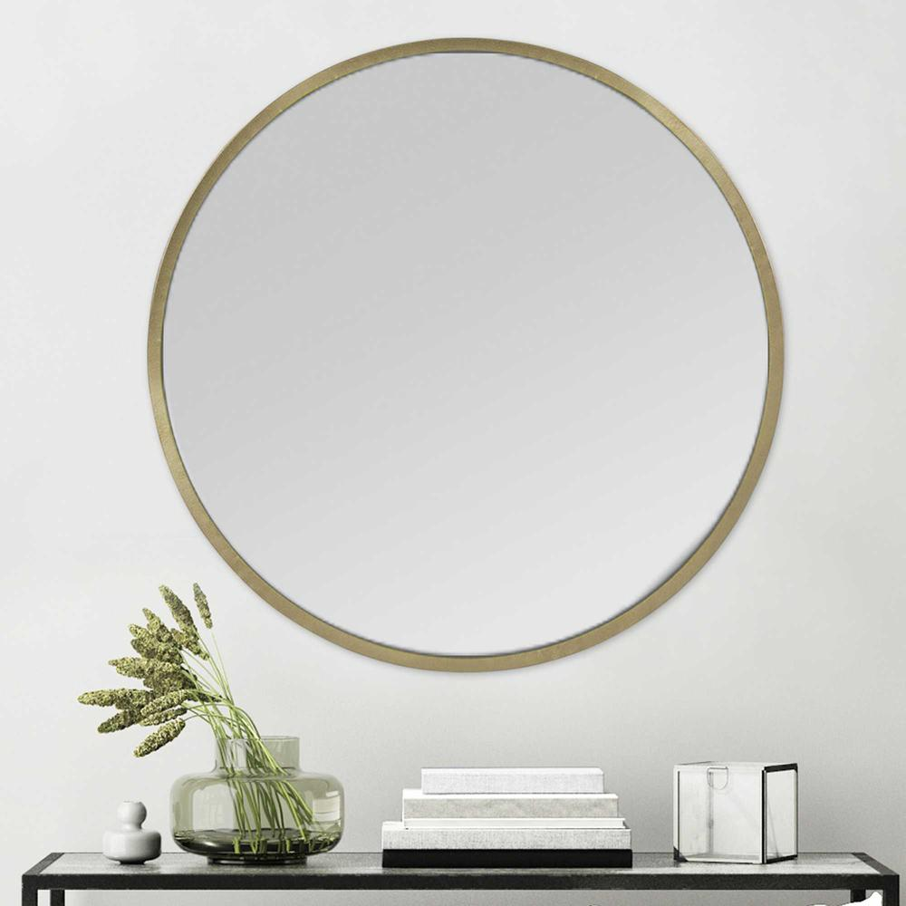 Round Wall Mirror with Matte Gold Finish - 376569. Picture 6
