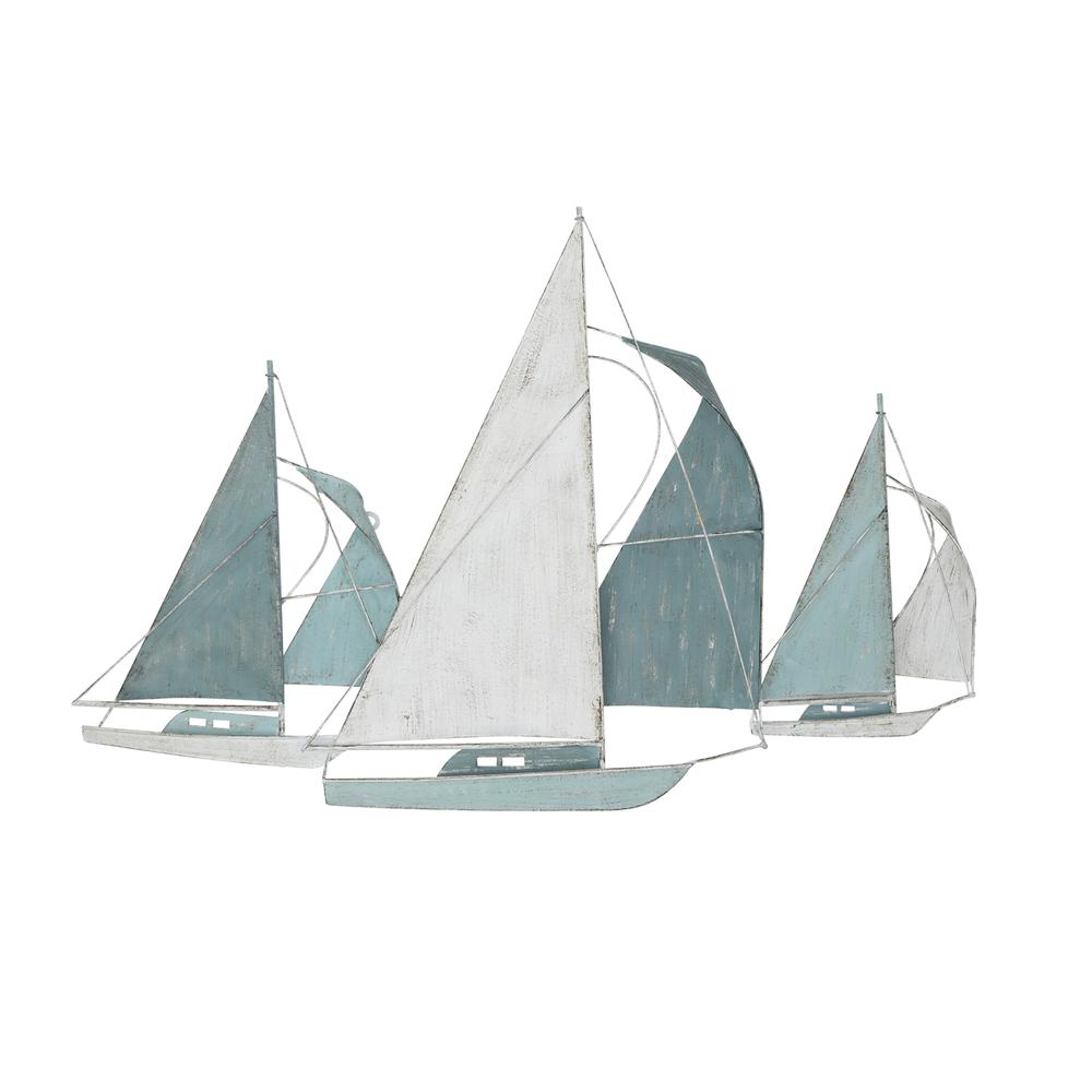Sailboat Metal Centerpiece  in Distressed Finish - 376572. Picture 1