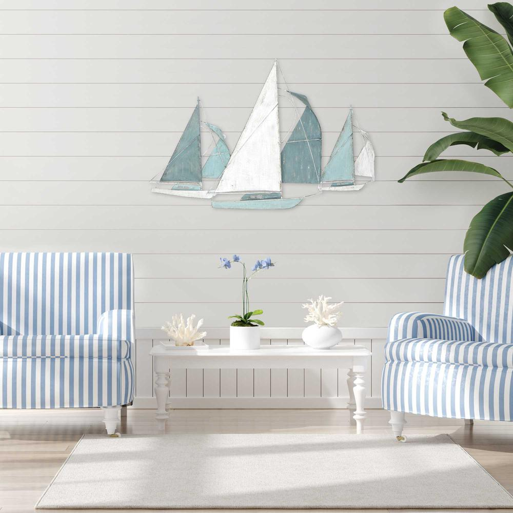 Sailboat Metal Centerpiece  in Distressed Finish - 376572. Picture 2