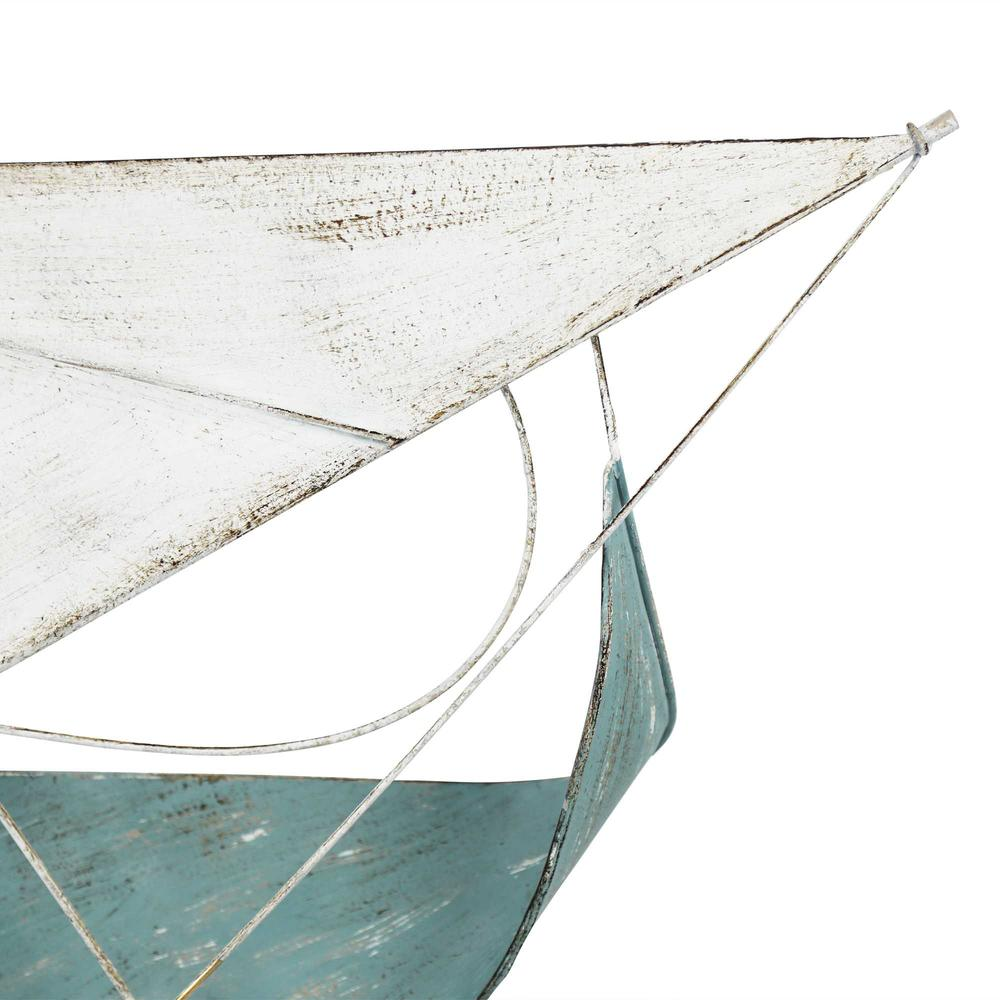 Sailboat Metal Centerpiece  in Distressed Finish - 376572. Picture 3