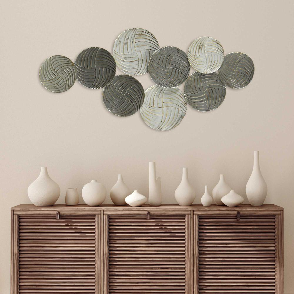 Metallic Plates Wall Centerpiece with Distressed Finish - 376582. Picture 2