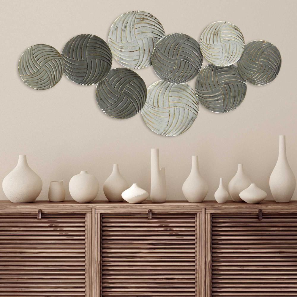 Metallic Plates Wall Centerpiece with Distressed Finish - 376582. Picture 6