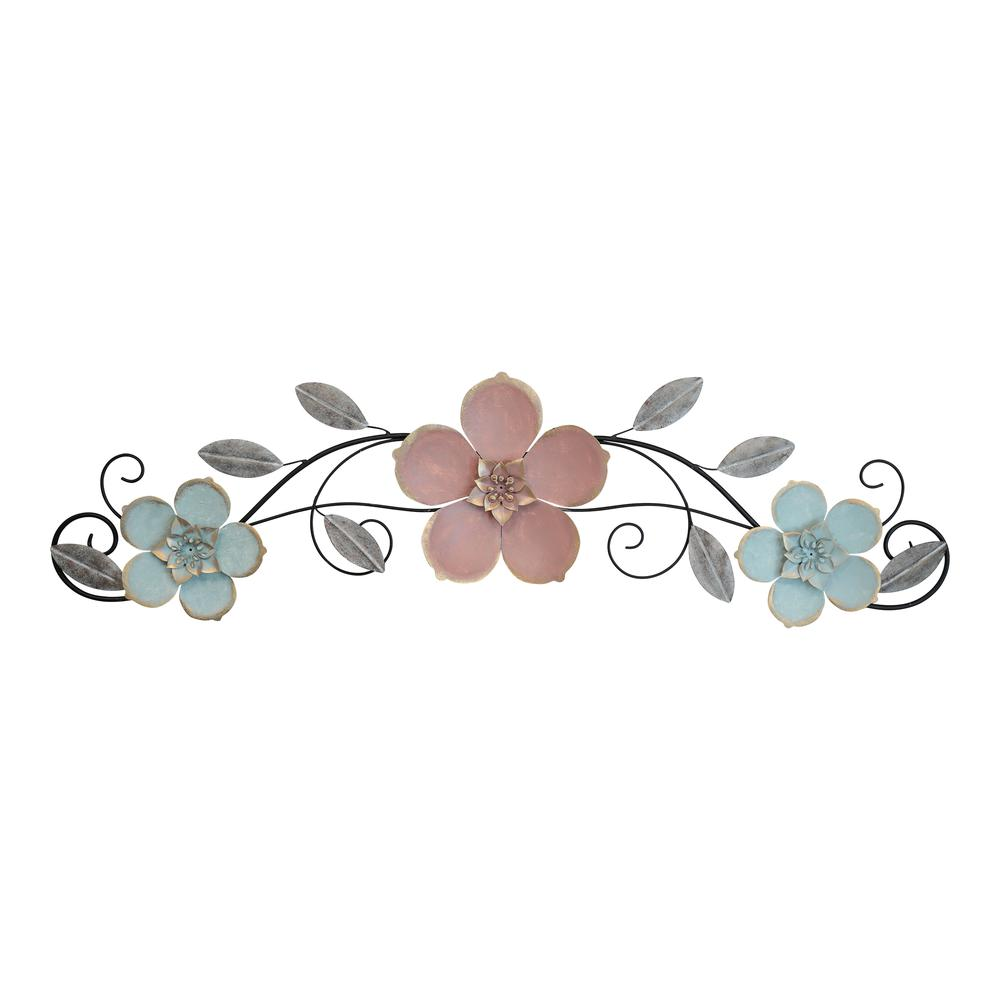 Flower Metal Wall Decor with Metallic Gold Edge Finish - 376588. Picture 1