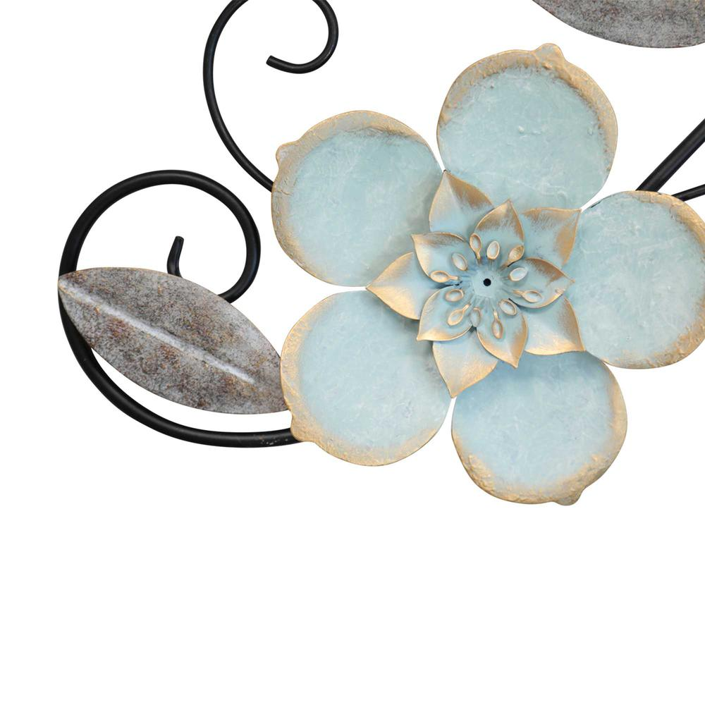 Flower Metal Wall Decor with Metallic Gold Edge Finish - 376588. Picture 3