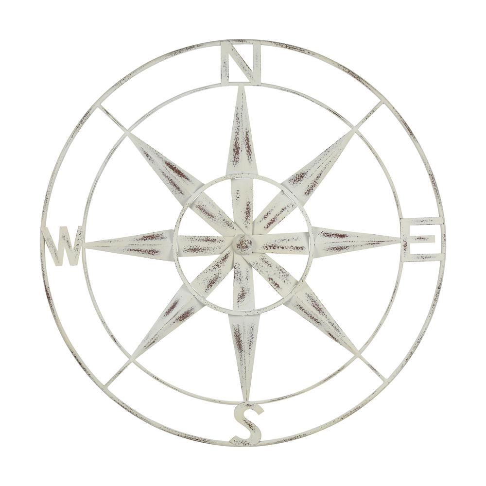 Nautical Compass Metal Wall Decor with Distressed White Finish - 376590. Picture 1