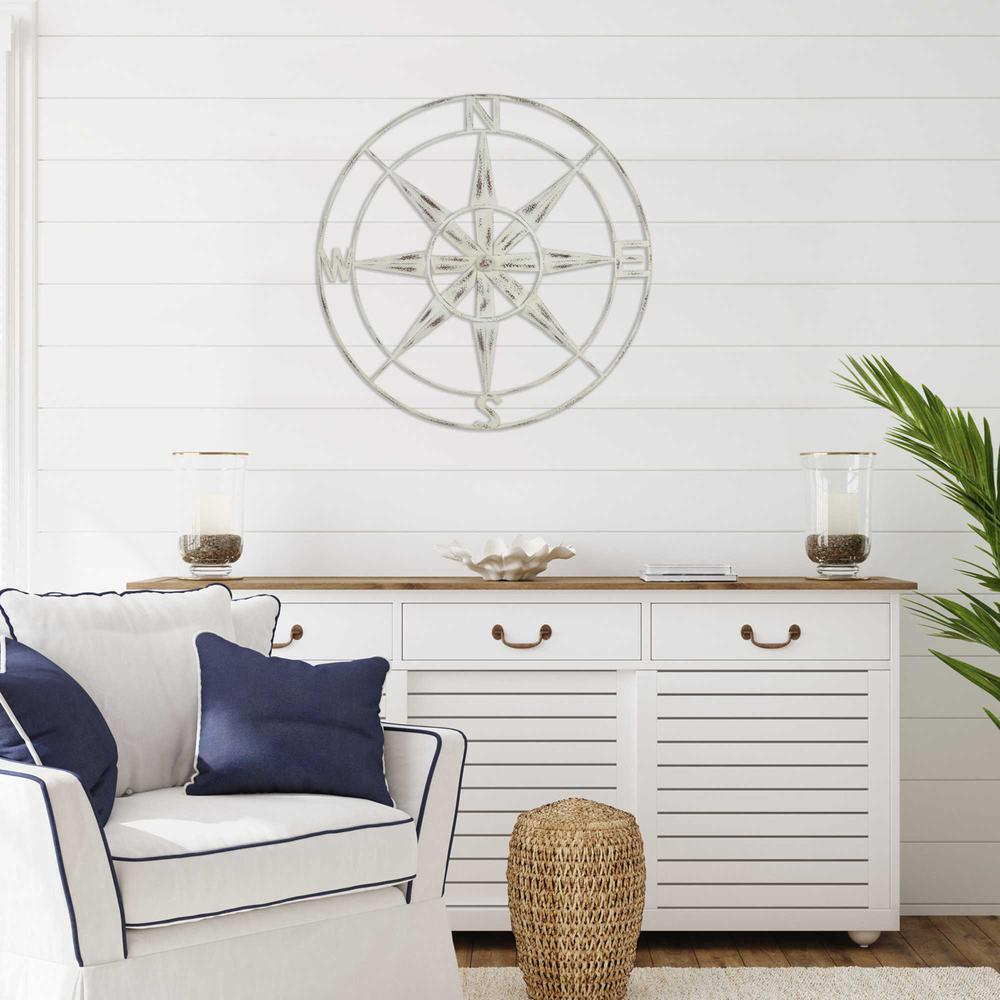 Nautical Compass Metal Wall Decor with Distressed White Finish - 376590. Picture 2