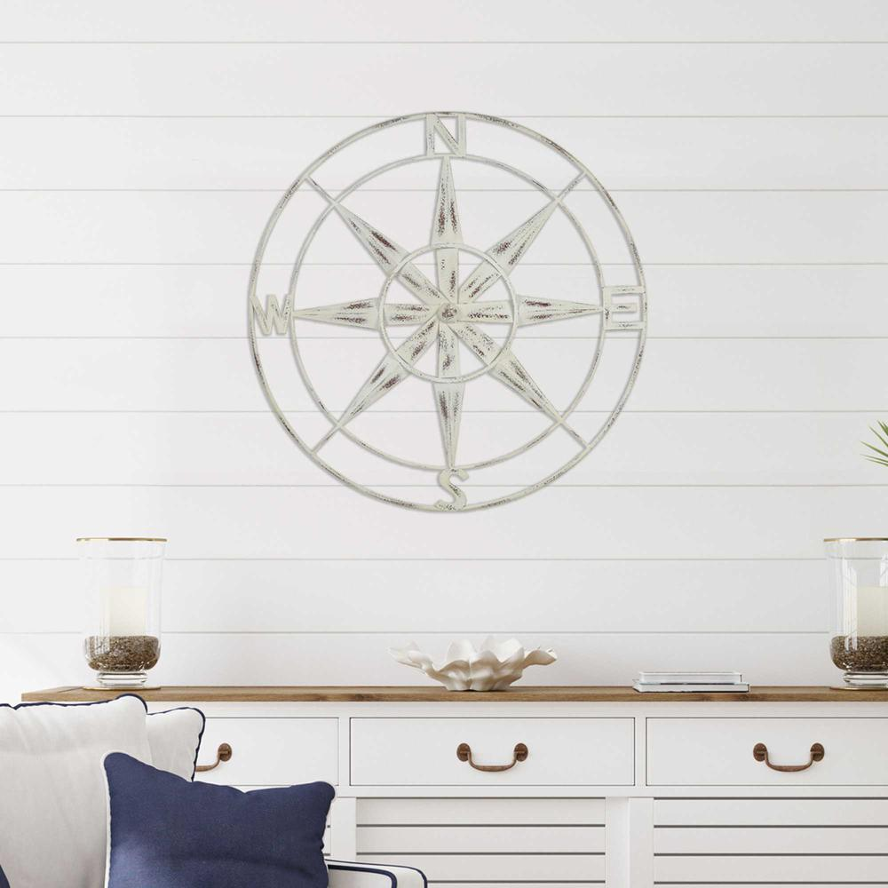 Nautical Compass Metal Wall Decor with Distressed White Finish - 376590. Picture 6