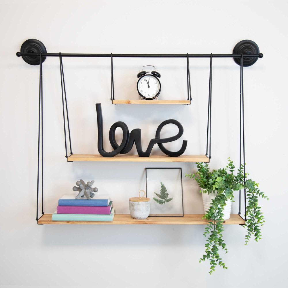 3 Tier Nested Black Metal and Wood Shelf - 376591. Picture 2