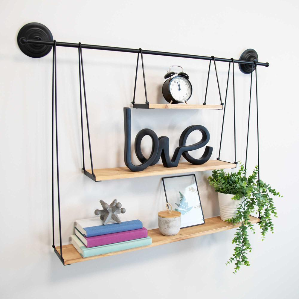 3 Tier Nested Black Metal and Wood Shelf - 376591. Picture 6
