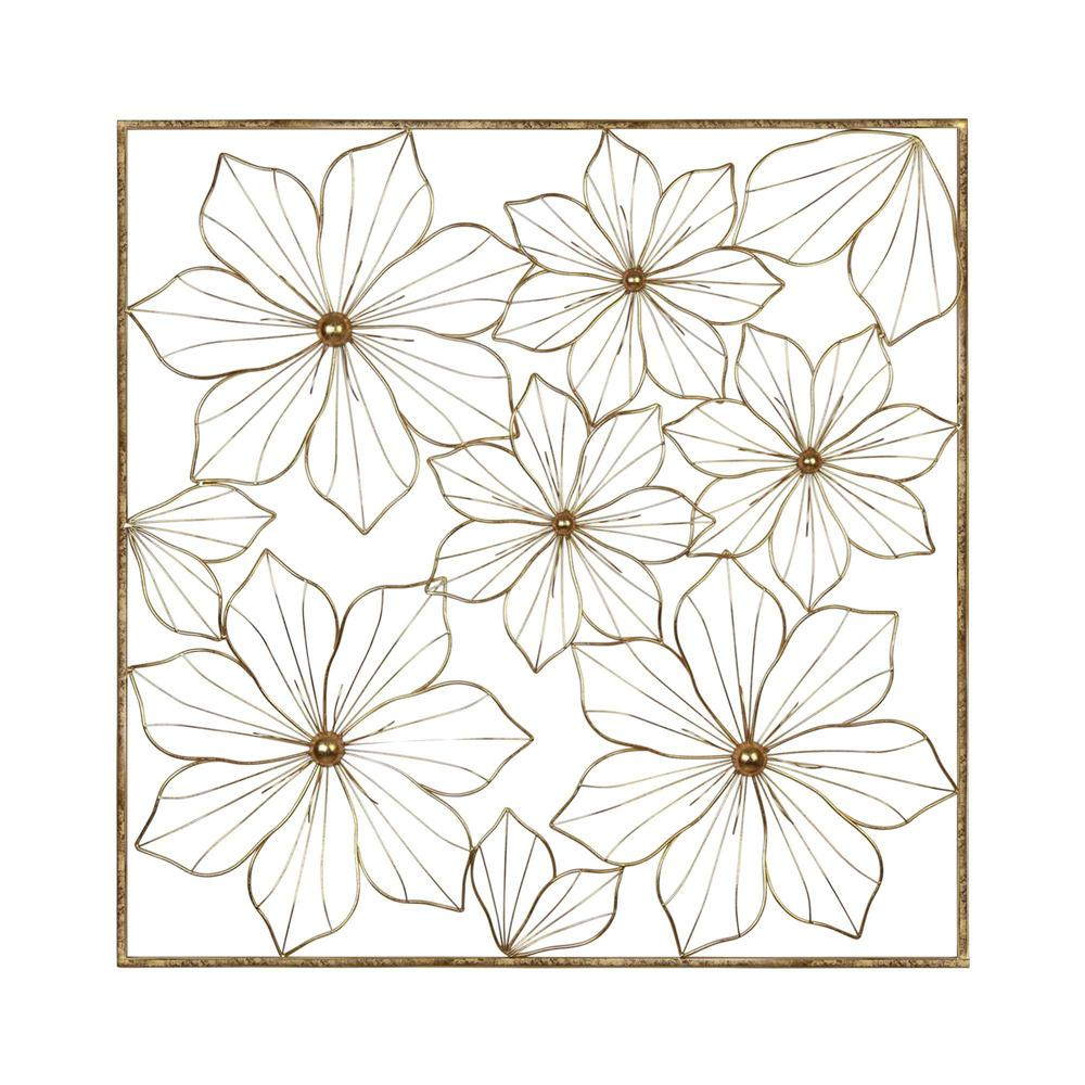 Floral Metal Wall Decor with Golden Finish - 376592. Picture 1